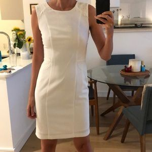 Never worn! White shift dress with lace detail